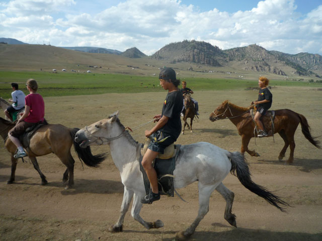 The children get to go horseback riding and hiking