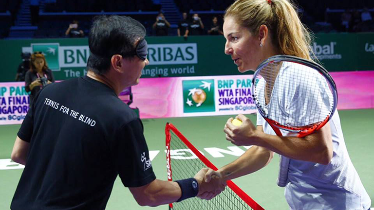 Singapore's Ong Hock Bee and Spain's Arantxa Sanchez-Vicario - Photo courtesy of WTA